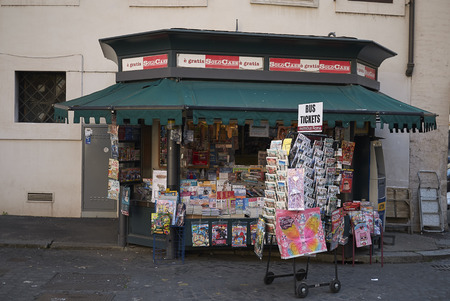 Roma, Italy - February 09, 2019 : Newsstand in the street of Rome