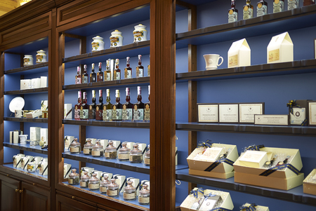 Florence, Italy - March 01, 2019 : Liquors and parlines sold at Officina profumo-farmaceutica di Santa Maria Novella shop Editoriali