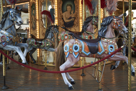 Florence, Italy - April 15, 2019: View of a vintage merry-go-round Editorial