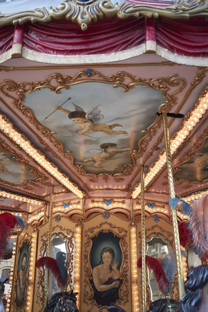Florence, Italy - April 15, 2019: Details of a vintage merry-go-round