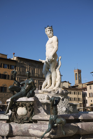 Florence, Italy - April 15, 2019: View of The Fountain of Neptune in Piazza della Signoria