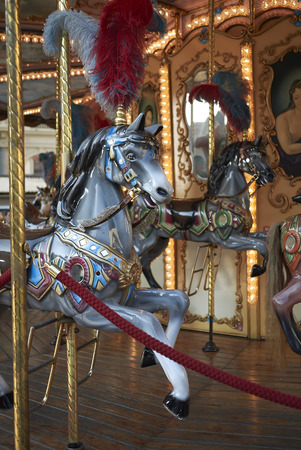Florence, Italy - April 15, 2019: View of a vintage merry-go-round