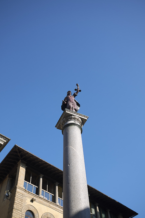 Florence, Italy - April 15, 2019 : Column of Justice in Piazza santa trinita