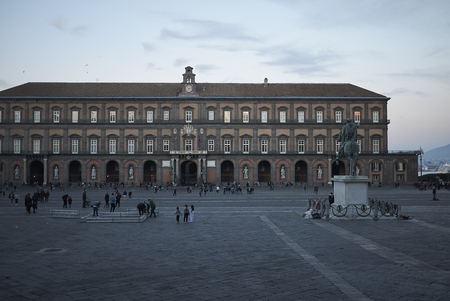 Naples, Italy - March 25, 2019 : View of Palazzo Reale