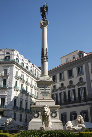 Naples, Italy - March 25, 2019 : View of Ai Martiri Napoletani monument