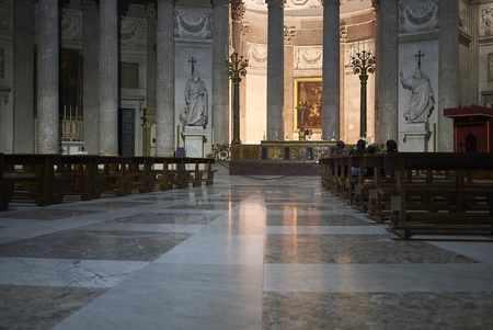 Naples, Italy - March 25, 2019 : view of San Francesco di Paola Basilica interior Editorial