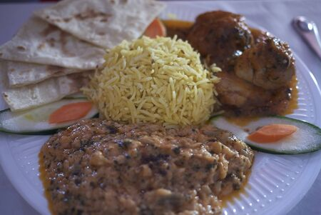 Indian meal with basamati rice, daal and chicken curry