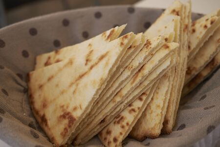 piadina Romagnola slices in a basket 写真素材