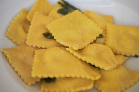 Ravioli pasta with butter and sage