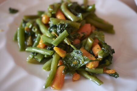 Side order with french beans and carrots Imagens - 132077284