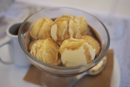 Affogato with vanilla ice cream Banque d'images