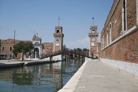 Venice, Italy - July 02, 2019 :  View of Arsenale di venezia (Porta Di Terra) 에디토리얼