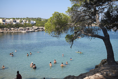 Ibiza, Spain - September 01, 2019  : View of Port d es torrent beach