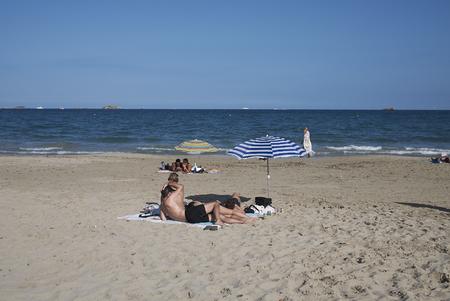 Ibiza, Spain - August 28, 2019  : View of Playa en Bossa