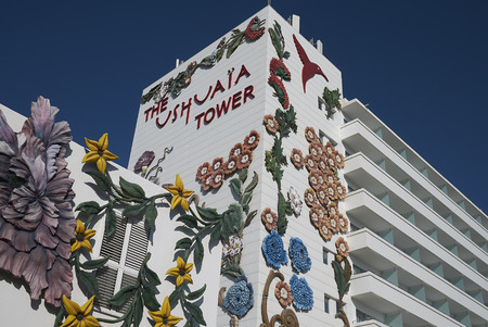 Ibiza, Spain - August 28, 2019  : View of Ushuaia tower hotel