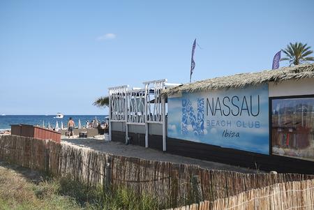 Ibiza, Spain - August 28, 2019  : View of Nassau beach bar in Playa En Bossa
