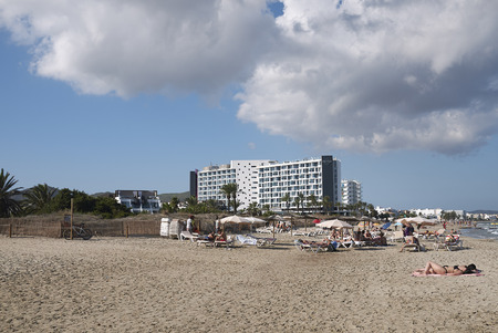 Ibiza, Spain - August 28, 2019  : View of Hard Rock Hotel in Playa en Bossa