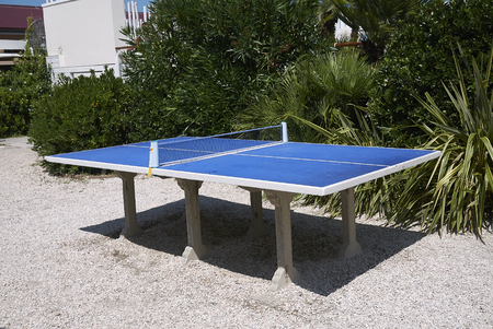 Milano Marittima, Italy -  July 29, 2019 : View of table tennis table 報道画像