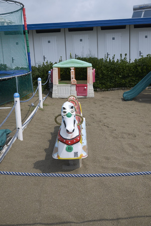 Milano Marittima, Italy -  July 28, 2019 : View of a children playground in a beach club