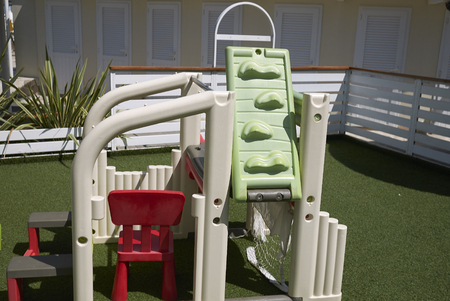 Milano Marittima, Italy -  July 29, 2019 : View of a children playground in a beach club