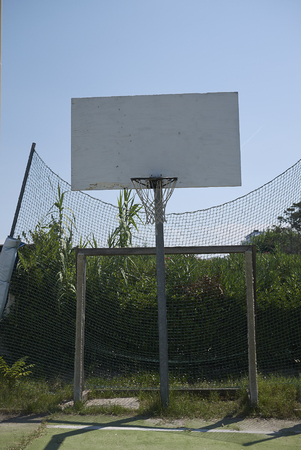 Milano Marittima, Italy -  July 21, 2019 : View of a basketball hoop 報道画像