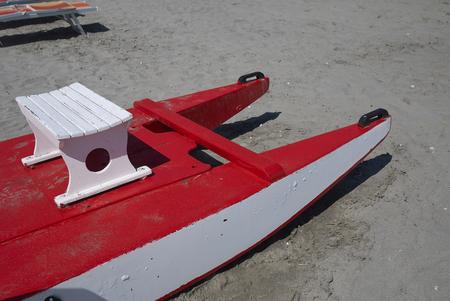 Milano Marittima, Italy -  August 04, 2019 : Rescue rowing catamaran