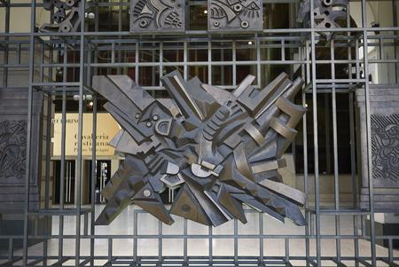 Turin, Italy - June 13, 2019 : View of Teatro Regio gate by Umberto Mastroianni 報道画像