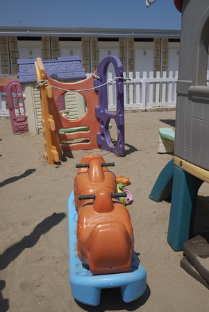 Milano Marittima, Italy -  July 21, 2019 : View of a children playground in a beach club 報道画像