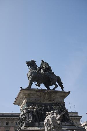 Milan, Italy - June 25, 2019 : View of Vittorio Emanuele II statue in piazza Duomo