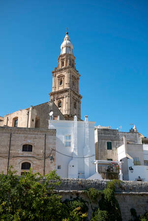 Monopoli, Italy - September 04, 2020: View of the Cathedral tower bell