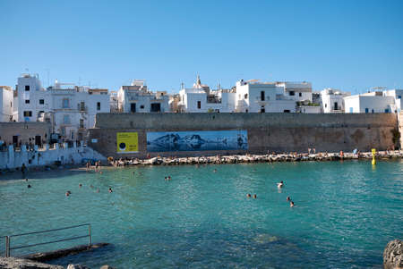 Monopoli, Italy - September 04, 2020: View of Cala di Porta Vecchia beach