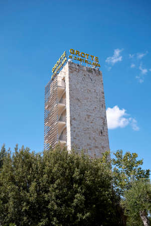 Castellana Grotte, Italy - September 04, 2020: View of Castellana Grotte tower Editorial