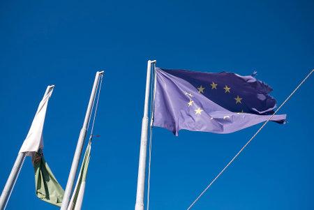 Monopoli, Italy - September 04, 2020: European flag Editorial