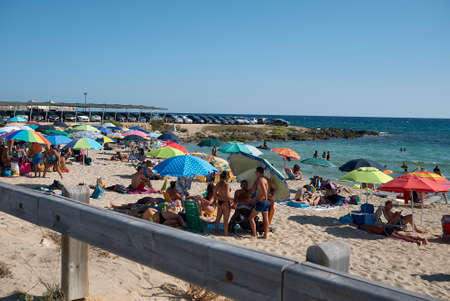 Taranto, Italy - September 06, 2020: Tourist at the beach