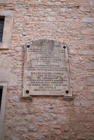 Ceglie, Italy - September 07, 2020: Ettore Tagliaferro plate