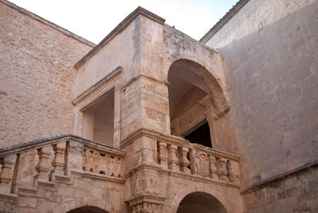Ceglie, Italy - September 07, 2020: View of Castello Ducale entrance hall