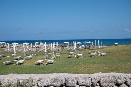 Borgo Egnazia, Italy - September 08, 2020: View of Borgo Egnazia private beach Editorial