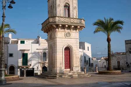 Ceglie, Italy - September 07, 2020: View of the clock tower