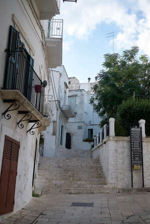 Ceglie, Italy - September 07, 2020: View of the narrow street of the city center