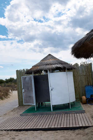 Lido Morelli, Italy - September 03, 2020: Changing rooms at the beach club
