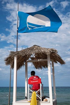Lido Morelli, Italy - September 03, 2020: View of the lifeguard at Lido Morelli