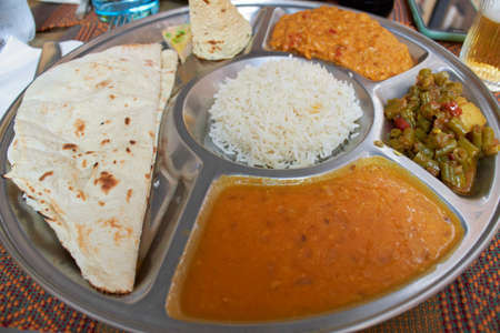 indian meal served for lunch