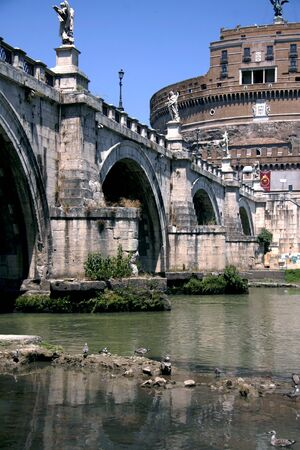 tevere: In the picture a detail of Castel SantAngelo, Rome