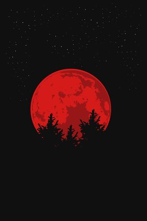 An silhouette illustration big blood moon and trees vector 矢量图像
