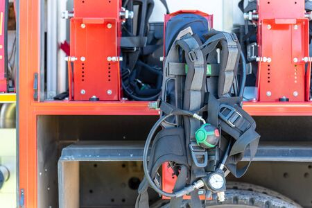 The side view of equipment packed neatly inside a fire engine, fire truck Reklamní fotografie