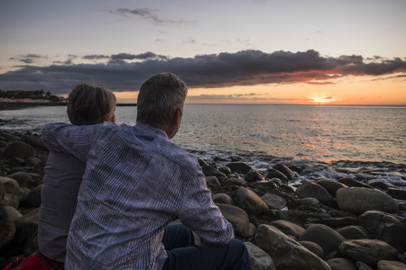 senior couple at sunset at the beach in Tenerife Banque d'images