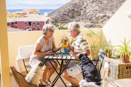couple of aged senior gentlemen and lady drink together fruit juice on rooftop terrace wih two funny pug dog under the sunlight. amazing ocean view for great retired lifestyle concept 写真素材