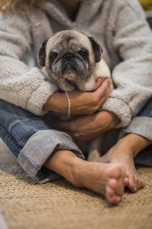 Homan people and dog love concept - adult caucasian woman hug with tenderness her old pug puppy sitting on the floor at home - best friend and friendship home activity