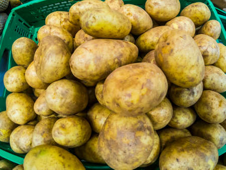 Background with mixed yellow potatoes for sauce or salads - seasonal food with vitamins for vegetarian or vegan people -market business concept
