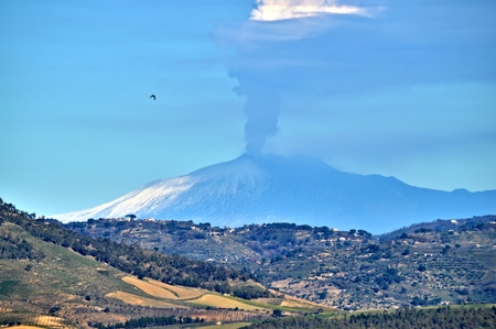 Stunning View from Mazzarino of the Mount Etna during the Eruption, Caltanissetta, Sicily, Italy, Europe
